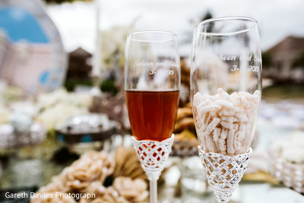 Indian couples personalized Champagne flutes.