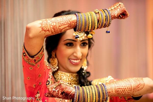 Maharani showing her sangeet bangles.