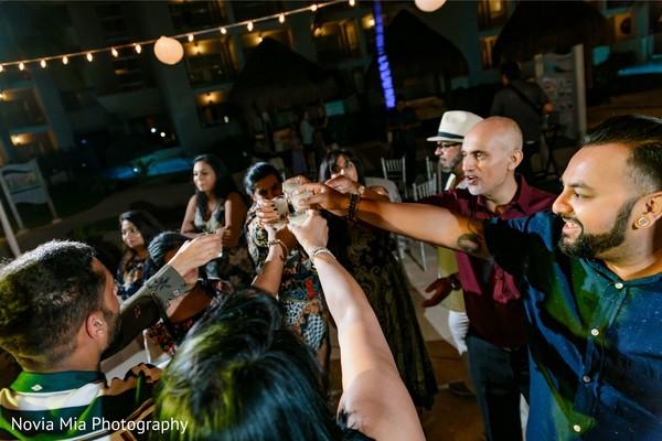 Joyful Indian pre-wedding celebration.