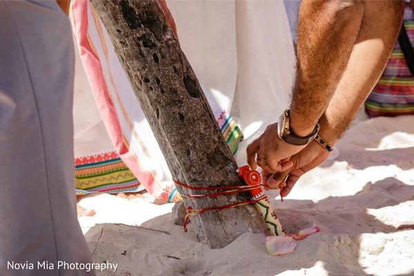 Closeup capture of Indian wedding ritual.