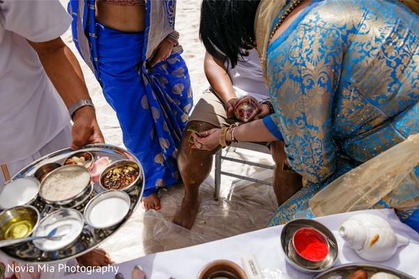 Indian groom getting scared of at haldi celebration.