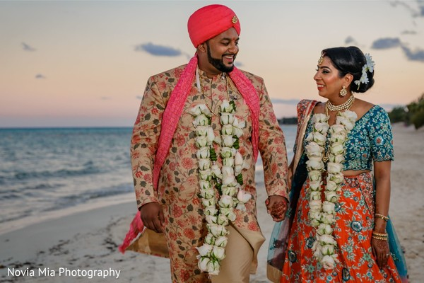 Glamorous Indian bride and groom portrait.