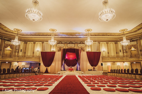 The gorgeous decor of the Indian wedding venue.
