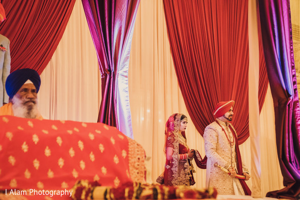 Indian groom and bride at the venue.