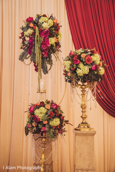 Floral decor details of the Indian wedding.