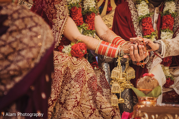 Indian bride and groom during the ceremony.