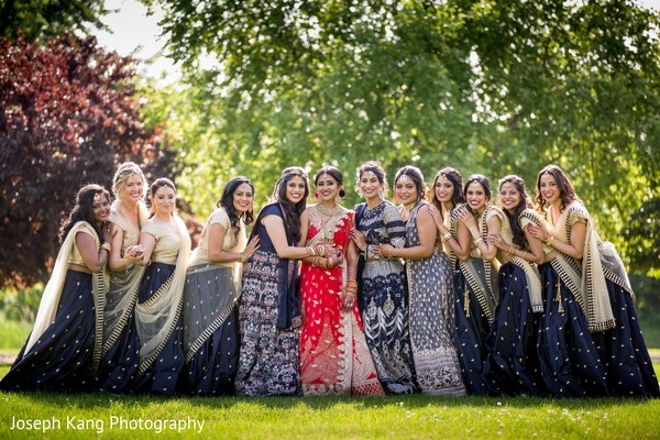 Indian bride and bridesmaids looking stunning.