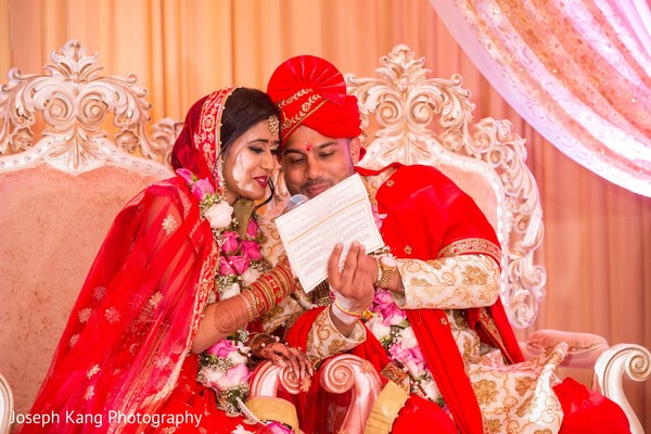 Indian bride and groom looking dazzling.