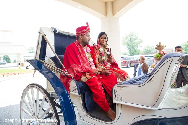 Indian bride and groom on their ride.