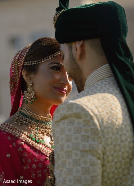 Romantic Indian bride and groom photo.