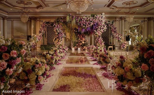 Amazing Indian wedding ceremony aisle decoration.