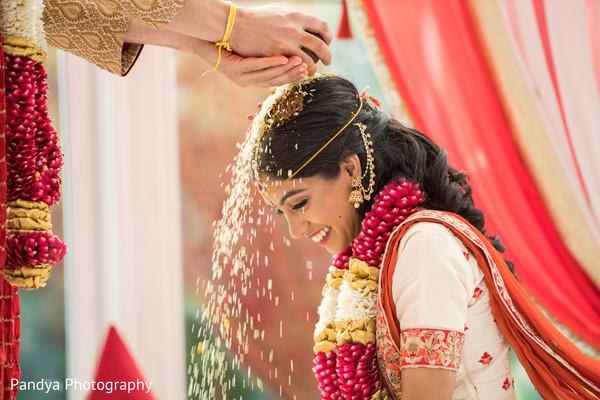 Joyful Maharani during her wedding ceremony.