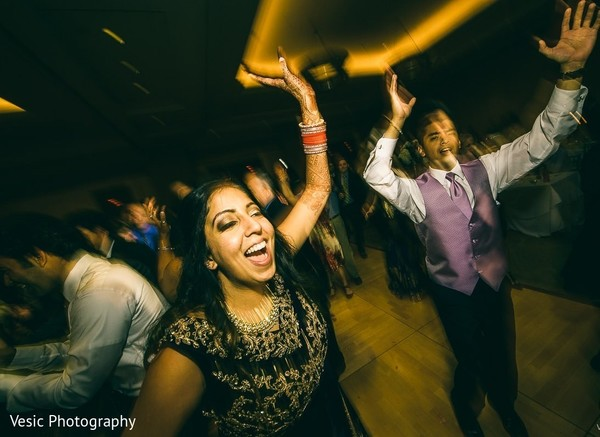 Indian bride at her upbeat reception party.