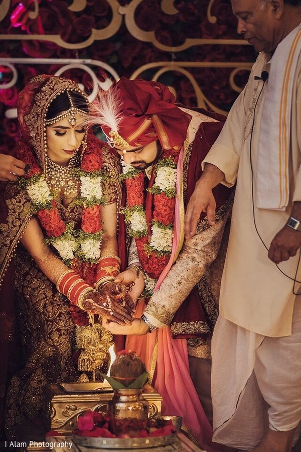 Indian bride and groom during the nuptials.