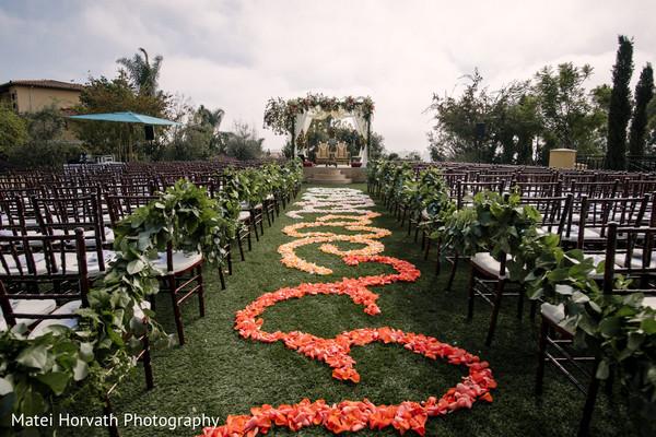 Beautiful flower decorated wedding altar.