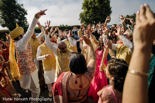 Everyone celebrating during the baraat.