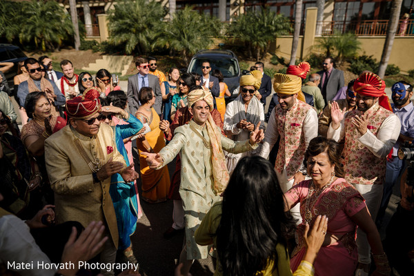 Indian groom arriving in his baraat procession.