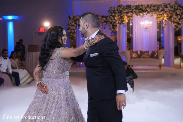 Gorgeous Indian bride and Raja during their first dance.