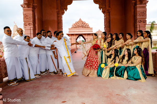 Indian bride and groom with bridesmaids and groomsmen wedding portrait