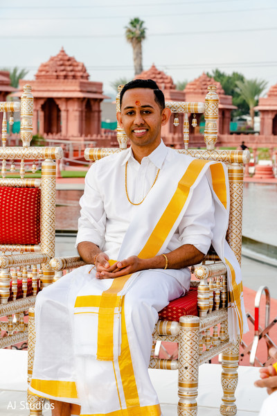 Indian groom with his wedding ceremony outfit