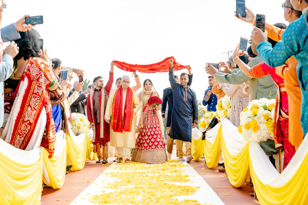 Indian bride's entrance next of her family