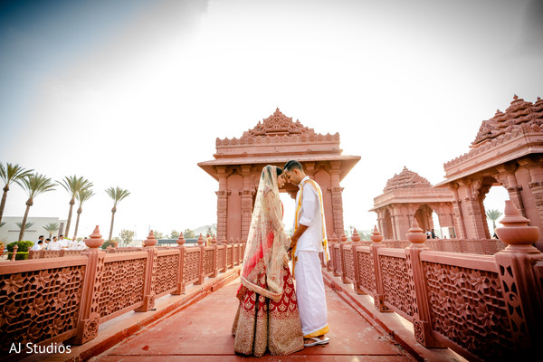 Indian bride and groom wedding outfit portrait