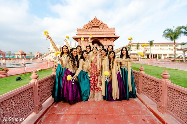 Indian bride and bridesmaids photo idea