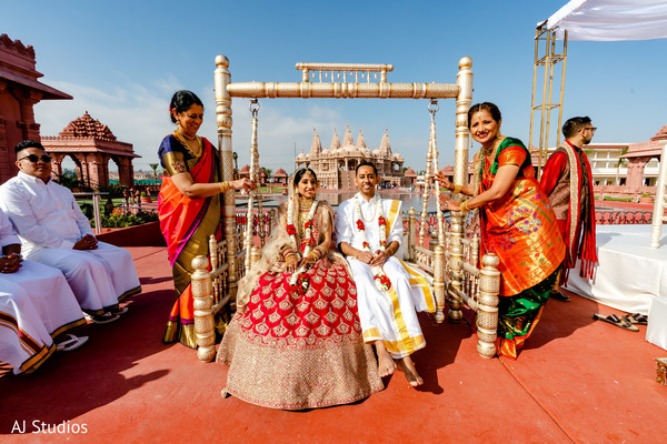 Indian couple on the wedding ceremony jhula