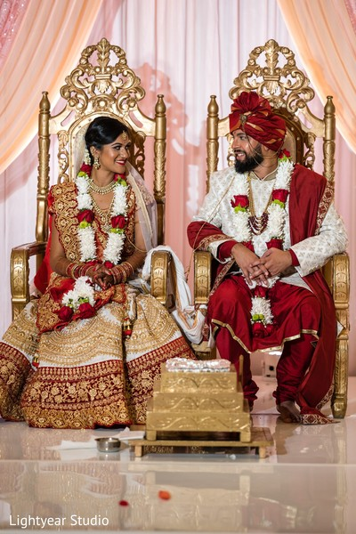 Portrait of the Indian newlyweds at the ceremony venue.