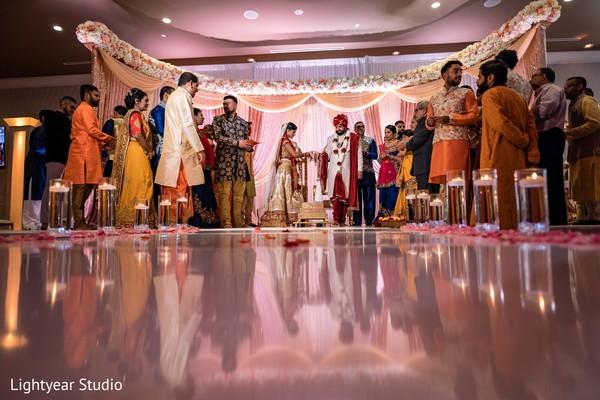 Indian wedding ceremony venue decor details.