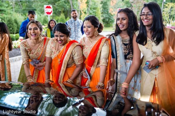 Bridesmaids after the Indian wedding celebration.