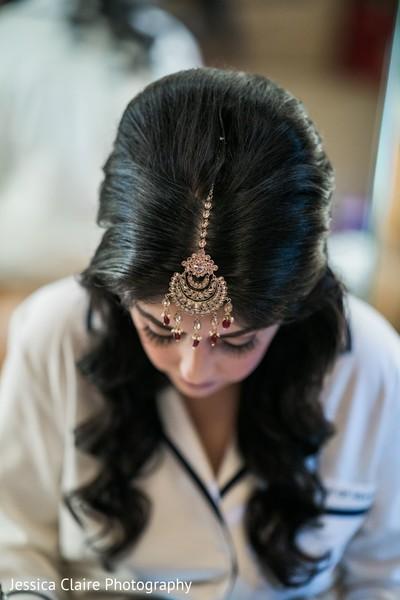 Indian bridal golden tikka design.