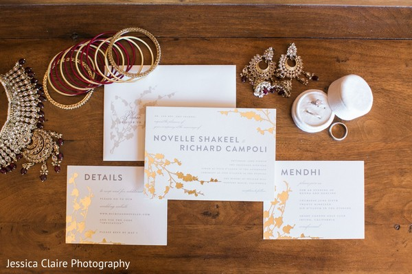 Indian wedding invitations and bridal jewelry.