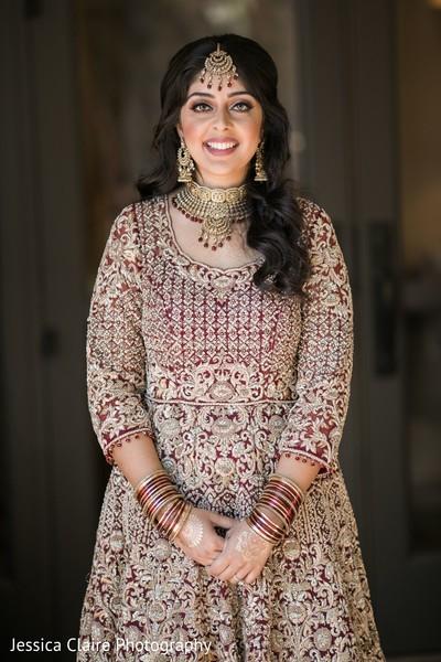 Indian bridal wedding ceremony look.