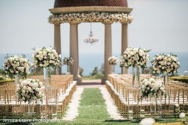 Indian wedding flowers ceremony entrance decoration.