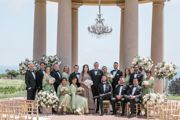 Indian couples photography with Indian bridesmaids and groomsmen.