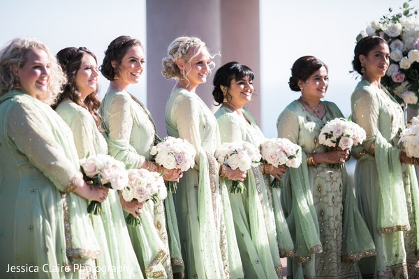 Indian bridesmaids on Indian wedding ceremony outfits.
