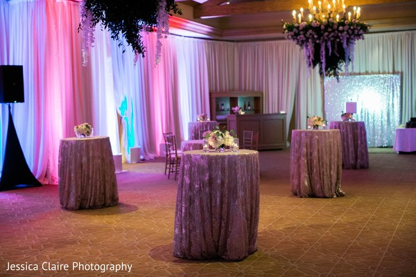 Pink and golden draping decorations.