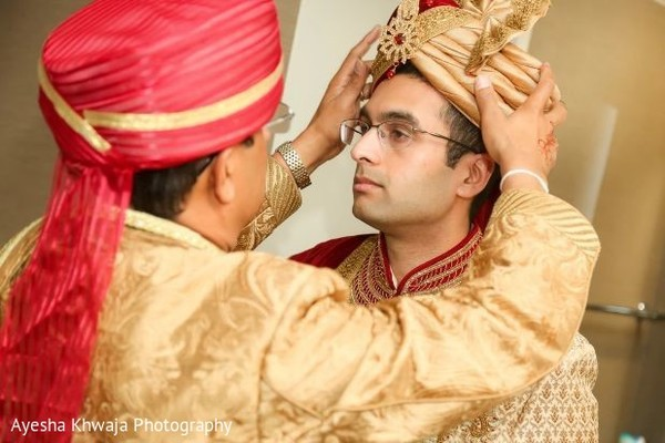 Indian grooms golden ceremony fashion.