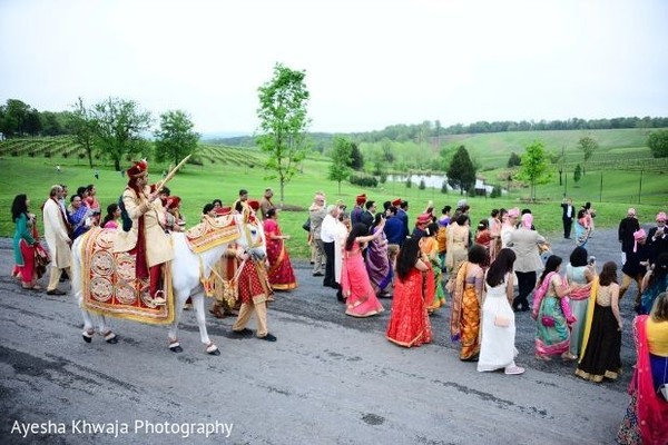Indian groom on his way to his milni.