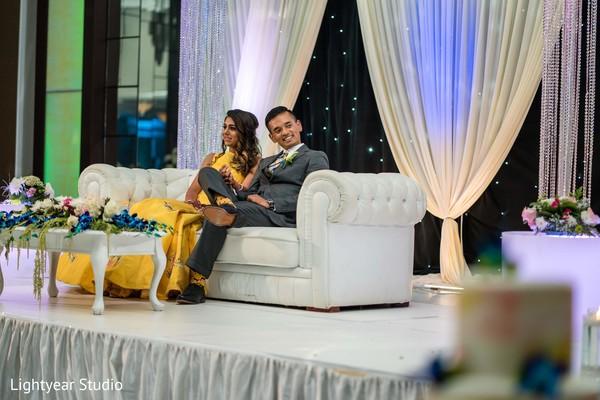 Maharani's yellow dress with Indian groom's grey suit photo shoot.