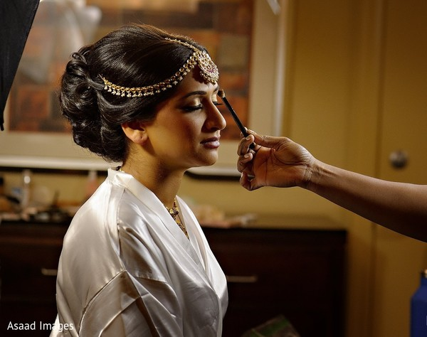 Indian bridal hairstyle.