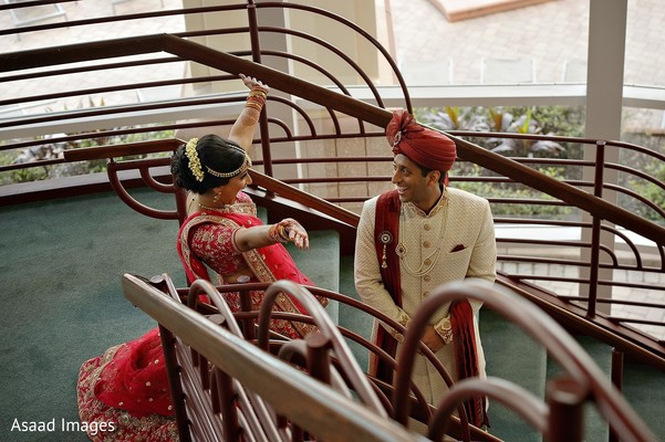 Indian bride surprising the groom.