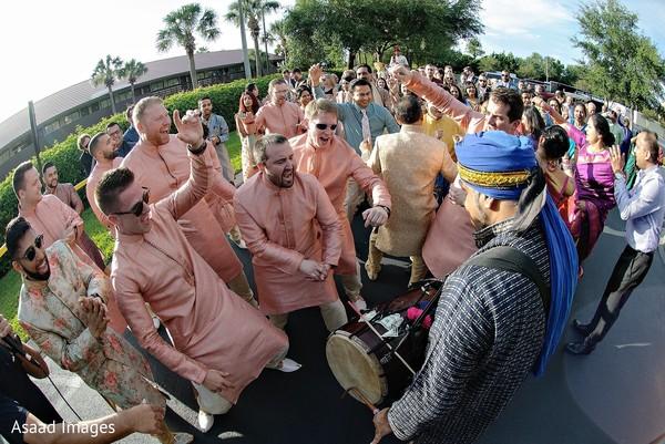 Indian groomsmen on their pink Kurta.