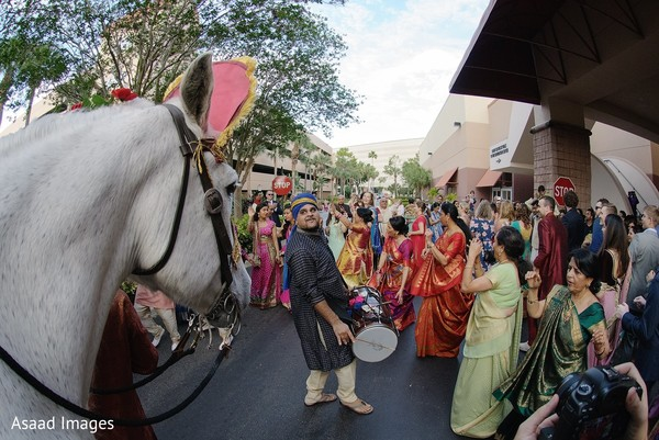 Gathering outdoors for the baraat procession.