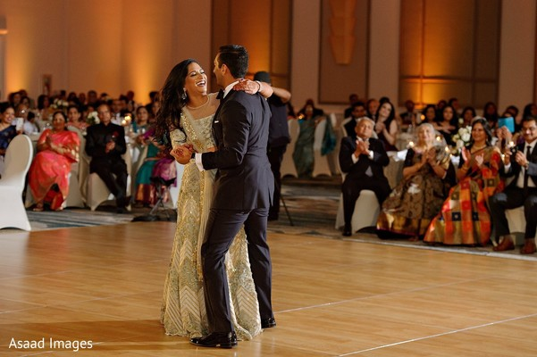 Indian couple having their reception first dance.
