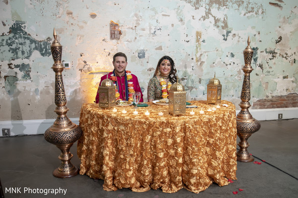 Golden lanterns and copper base decoration ideas for Sangeet table.