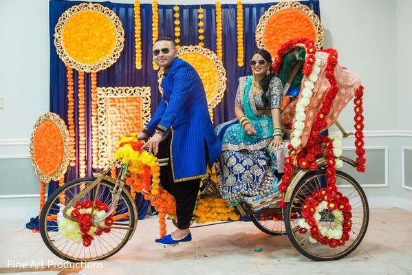 Stylish Raja and Indian bride during the pre-wedding photo session.