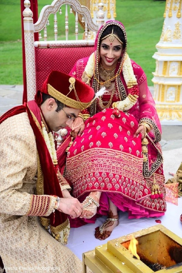 Indian groom at the wedding ceremony Bichiya ritual.