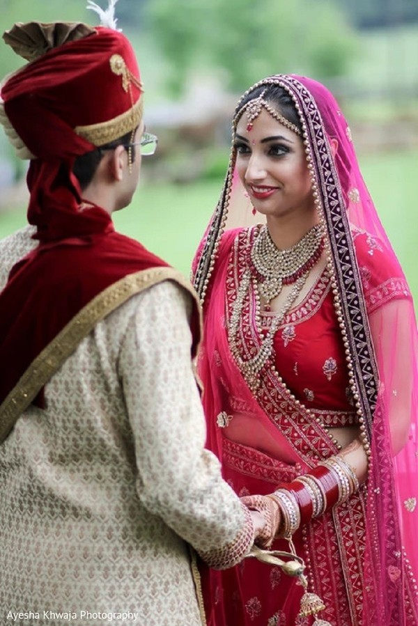 Indian bride and groom's first look photo session.